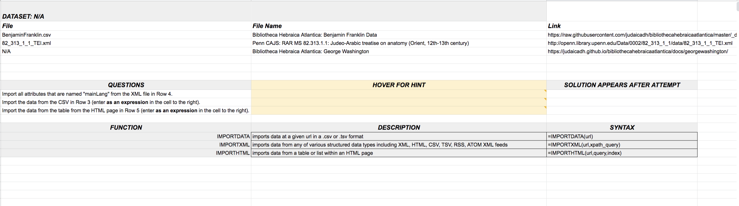 Screenshot of Case 3 Spreadsheet